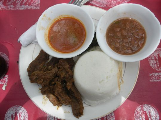A typical Tanzanian meal.