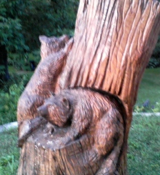 Woodcarving in tree trunck